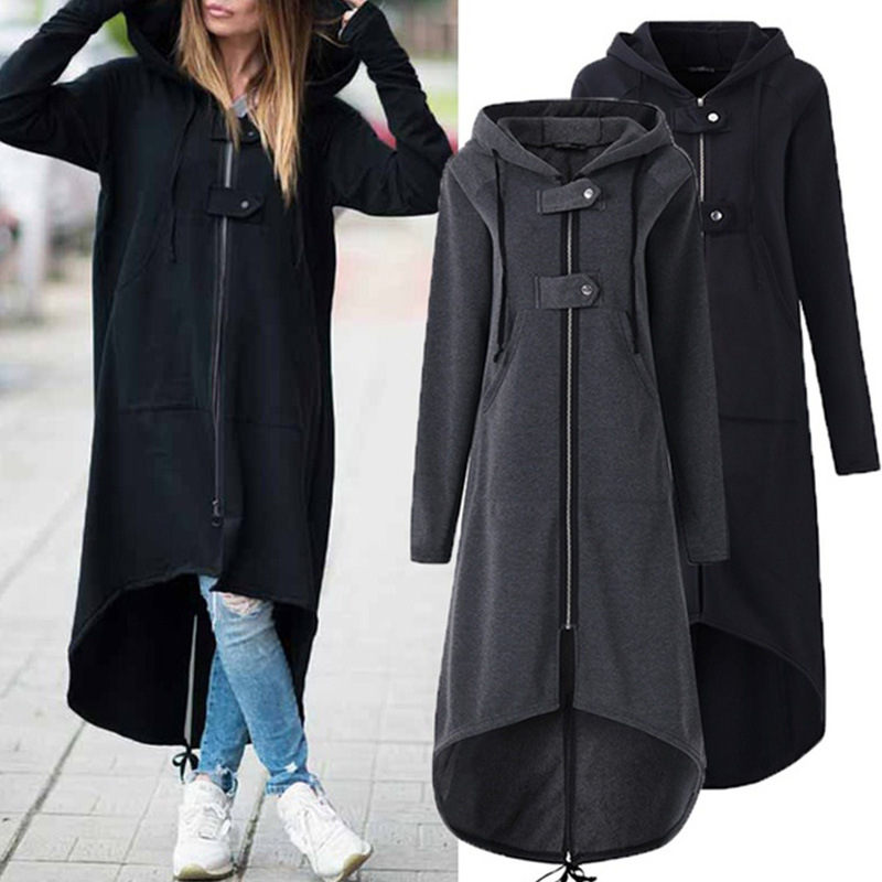 Fashion Casual Long Sleeve Hooded Trench Coat 2019 Autumn Black Zipper Plus Size 5XL Oversize Velvet Long Warm Women's Coats