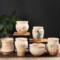 Корейский мясистый цветочный горшок креативный керамический дышащий Настольный классический милый простой Снежинка глазурь