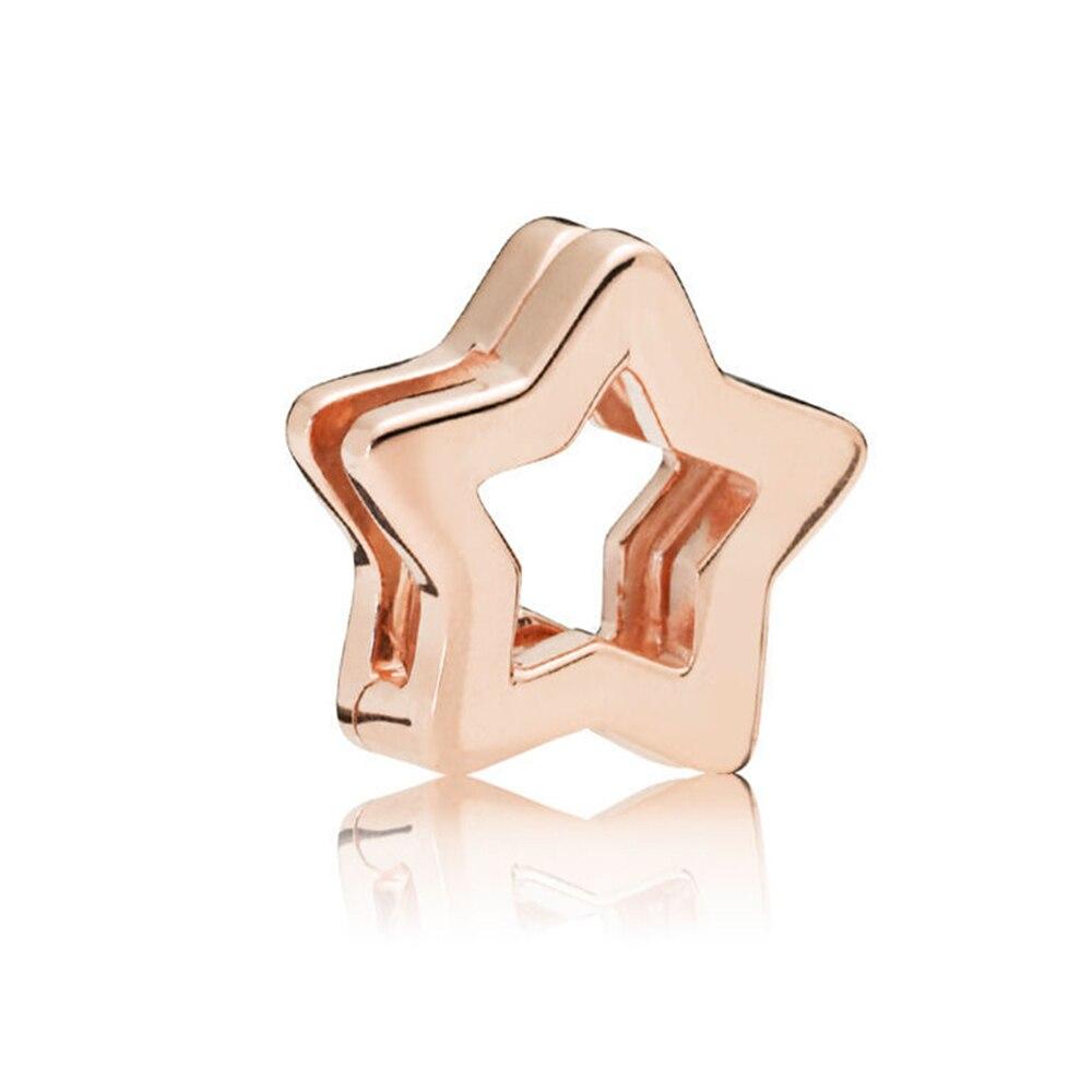FEOLEO натуральная 925 пробы Серебряная скобка, очаровательные, подходят к оригиналу Pandora браслетов reflexions для Для женщин розового золота Цвет ювелирные изделия - Окраска металла: PAX016-C