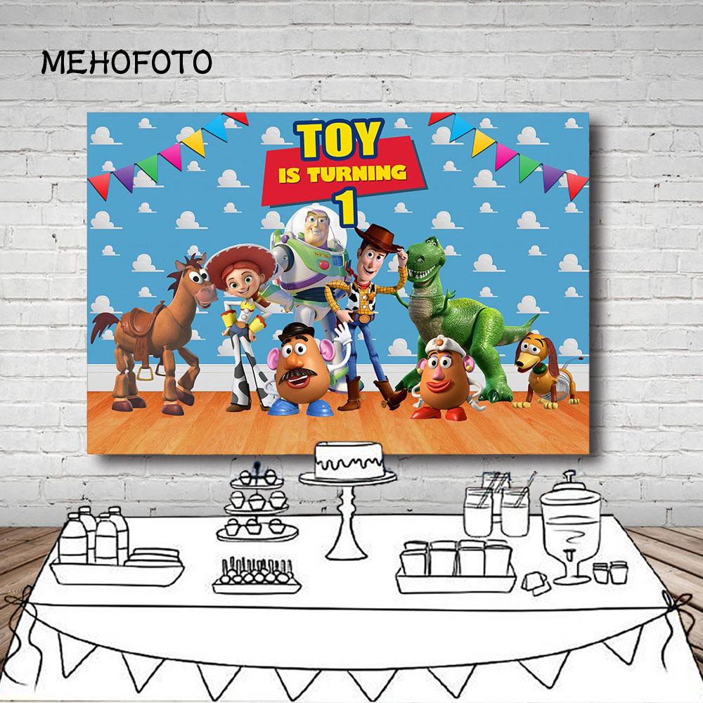Mehofoto Photography Backdrop New Toy Story 4 Inside Room Jessie Woody Dance Party Birthday Party Photo Background Photo Studio