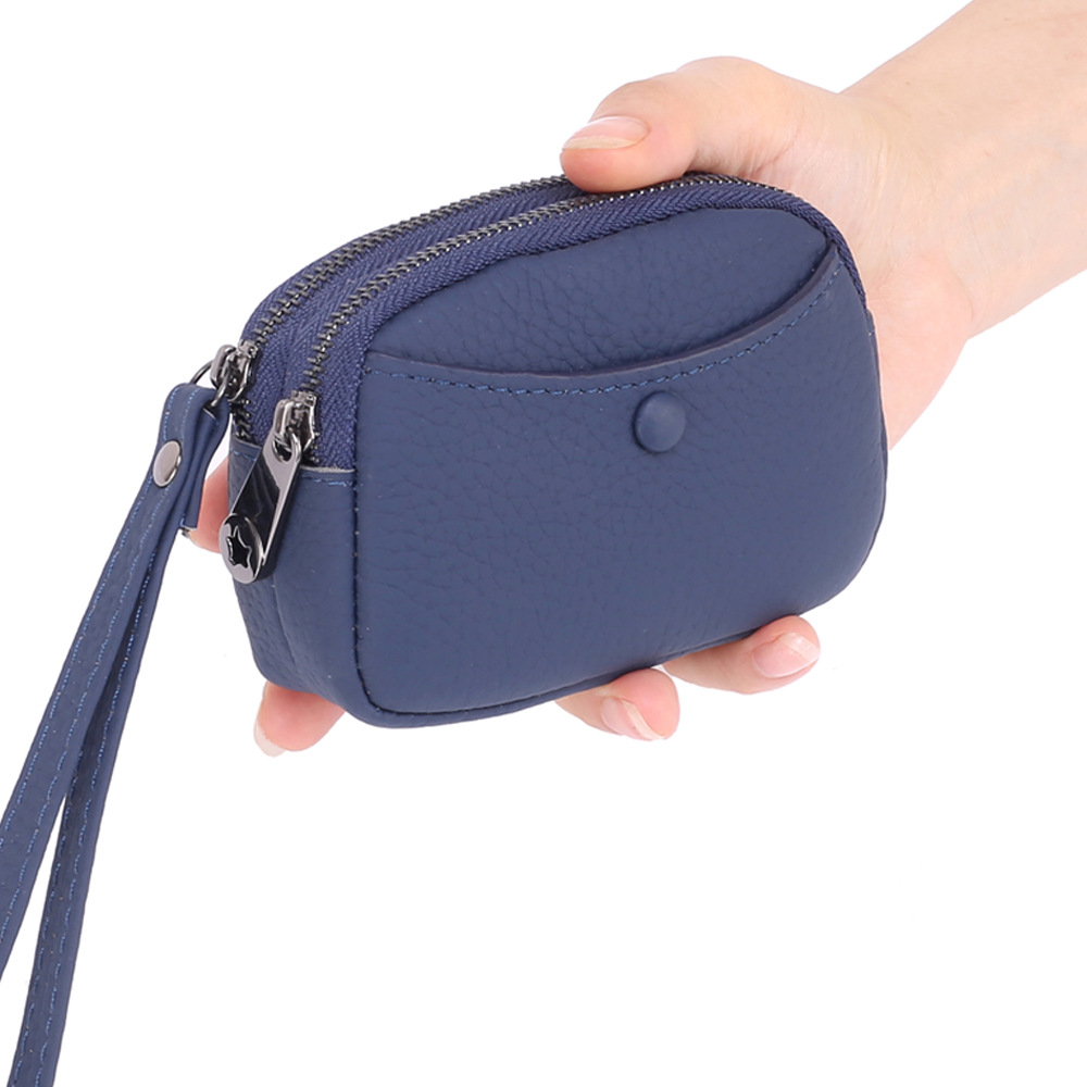 Women Cowhide Coin Purse Genuine Leather Money Bag Female Keys Card Cash Bag Wallet Clutch Handbag Double Zipper with hand strap image