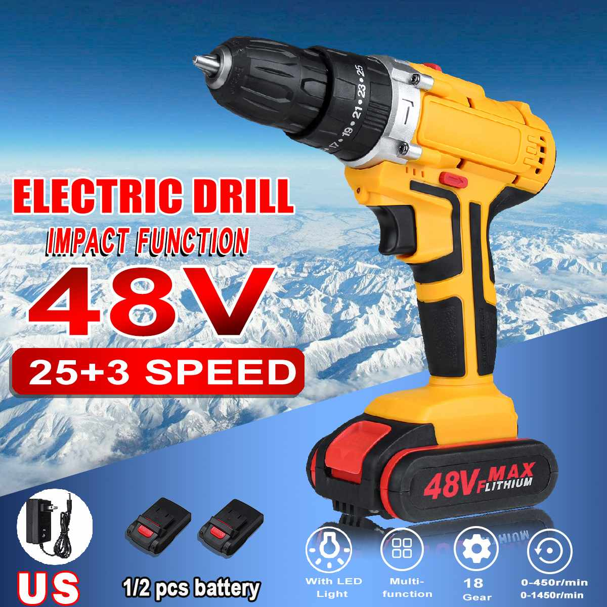 48V 25+3 Torque 2-Speed Electric Screwdriver Cordless Drill Impact Drill Mini Wireless Power Driver 1/2 DC Lithium-Ion Battery