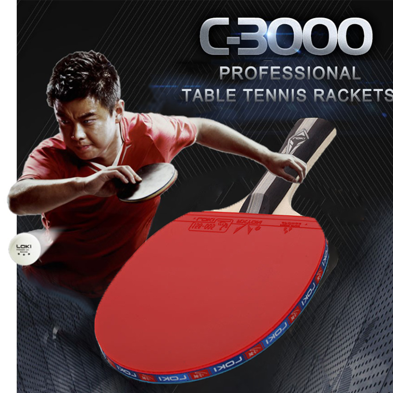 2 Pcs Table Tennis Racket Pimples-in Grip Powerful Ping Pong Racket 5 Ply Wooden Blade With Good Control Loki C3000