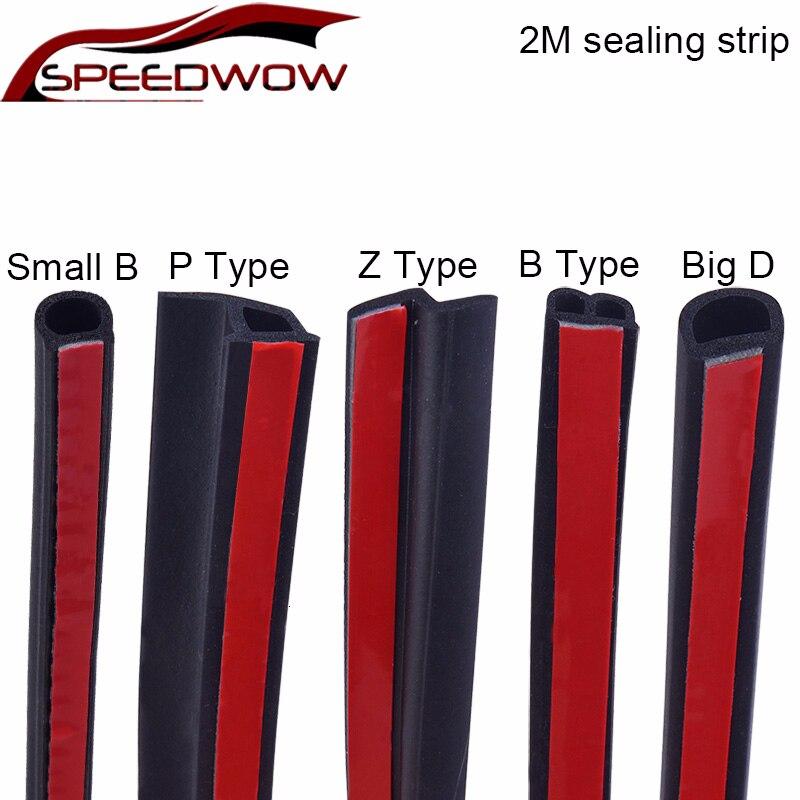 SPEEDWOW Car Rubber Sealing Strip Sticker Noise Insulation Weatherstrip Soundproof Auto Rubber Seals 2M Shape B P Z Big D