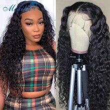 Peluca de onda de agua peluca con malla Frontal Moxika 4x4 con cierre de encaje, pelucas de cabello humano rizado, cabello humano Remy 180, pelucas de encaje Frontal