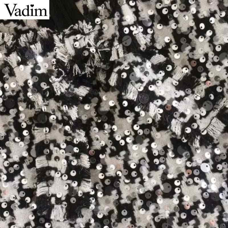 Vadim נשים אופנה נצנצים טוויד מיני שמלת עניבת פרפר לקשט משבצות חזרה רוכסן גדילים המפלגה מועדון מקרית שמלות QD100
