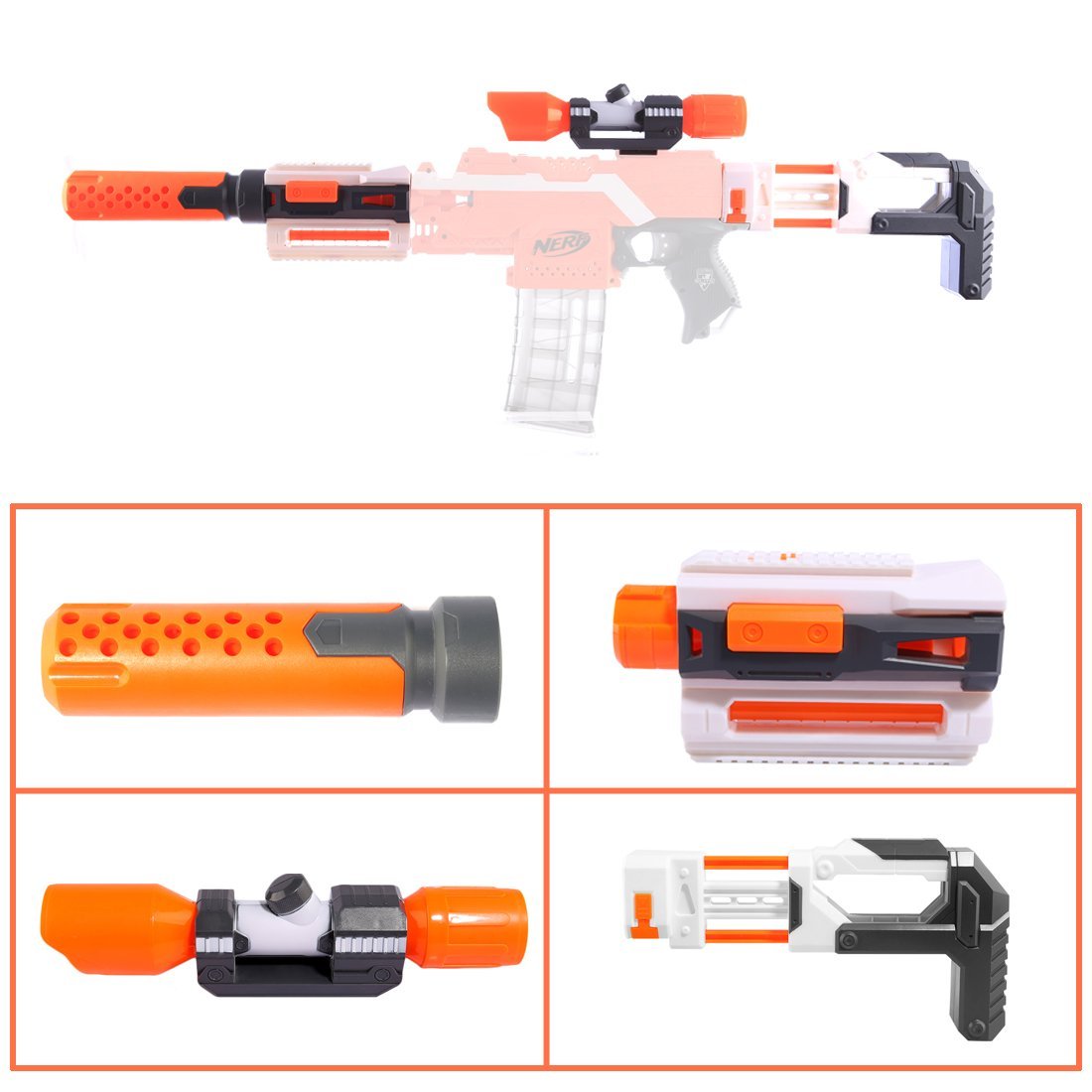 Universal Parts For Nerf Sight Elite Series Compatible Modified Part Front Tube Sighting Toys Muffler Tail Stock Guide Rail Body