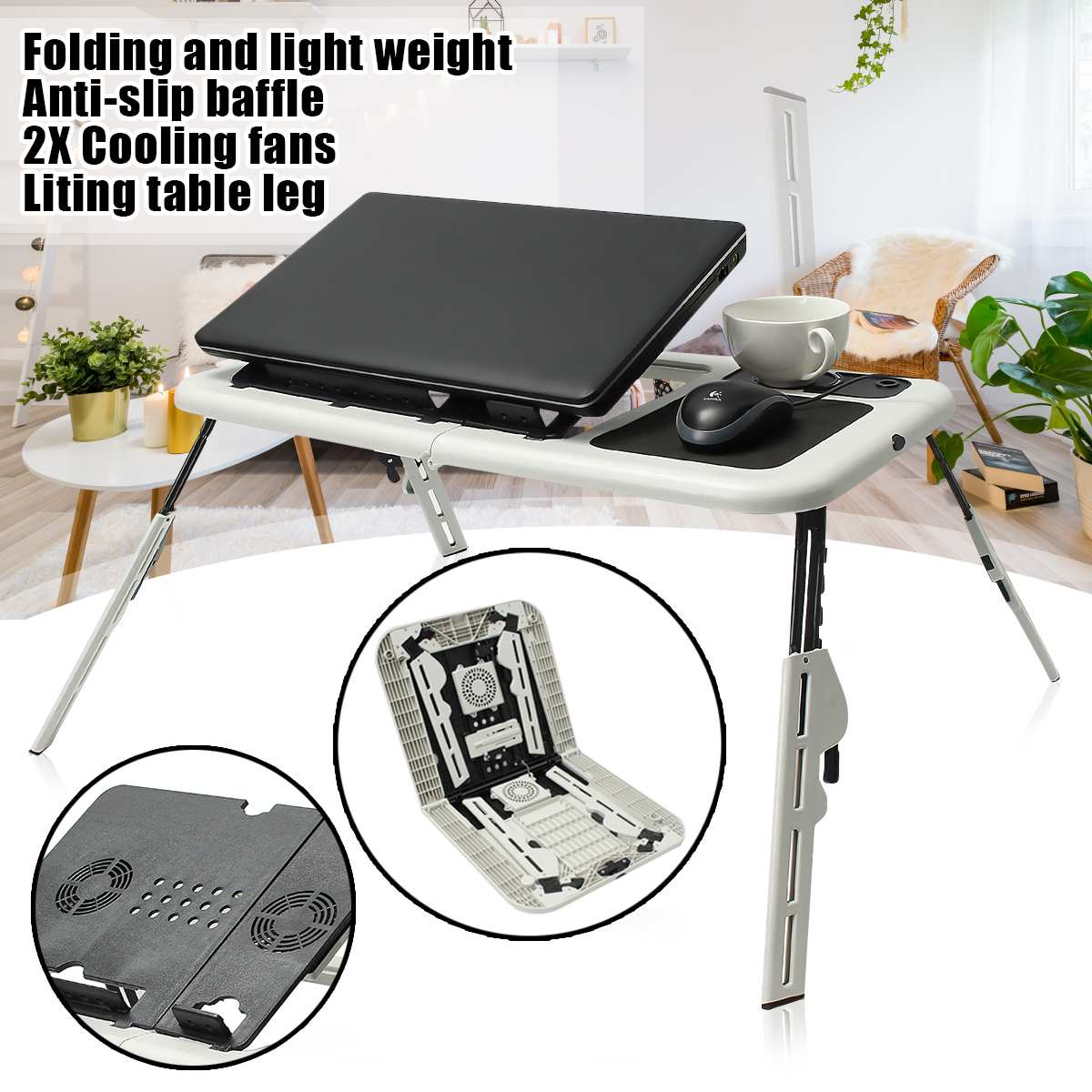 Multi-function Folding Laptop Desk Table Laptop Stand Holder With 2 USB Cooling Fans Mouse Pad Table  Lapdesks For Bed