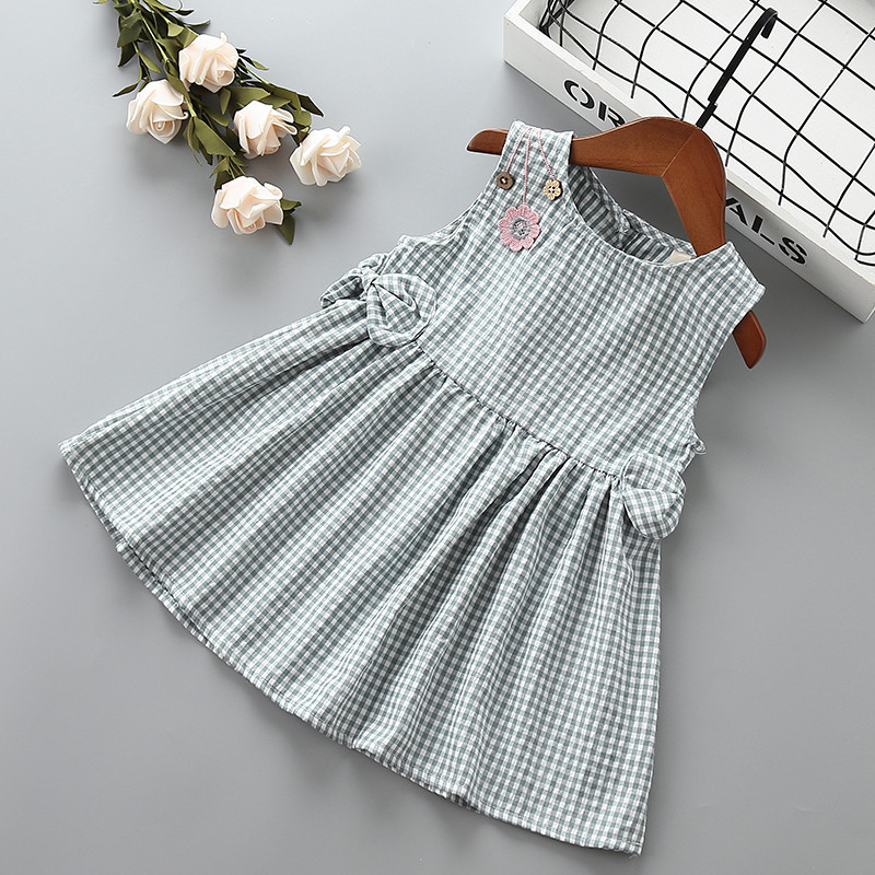 0 6 years High quality girl dress new summer fashion bow draped plaid kid children girl clothing party princess dress 40 in Dresses from Mother Kids