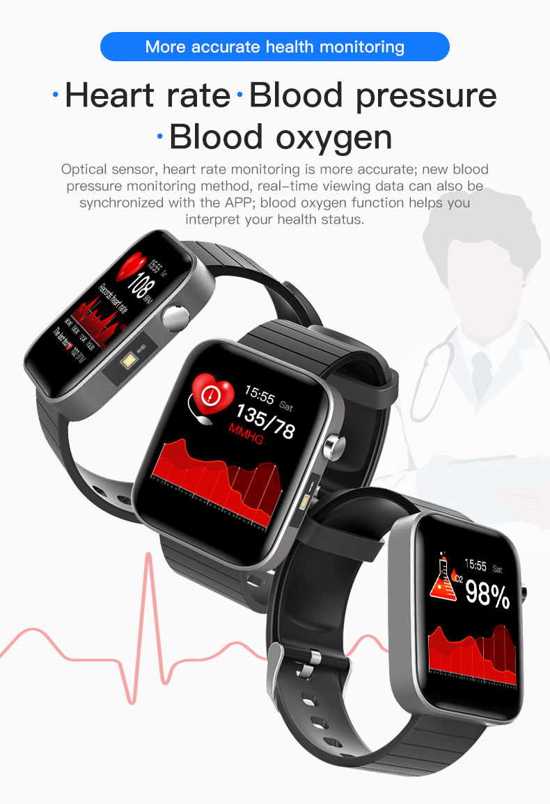 Sports Bracelet Body Temperature Measure Heart Rate Blood Pressure Monitor Healthy Tracker Smart Watch with ECG PPG SPO2 T68