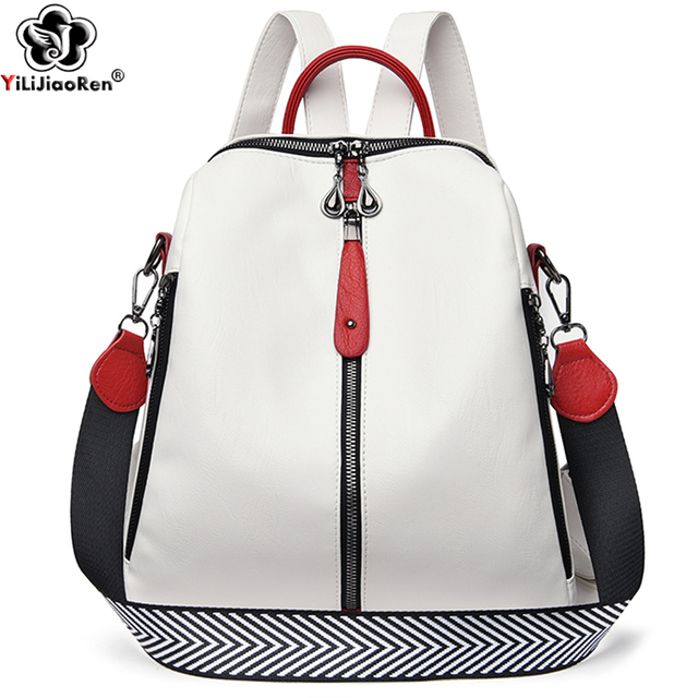 Fashion Backpack Women Soft Leather Backpack Female White High Quality Travel Back Pack School Backpacks for Girls Sac A Dos Hot