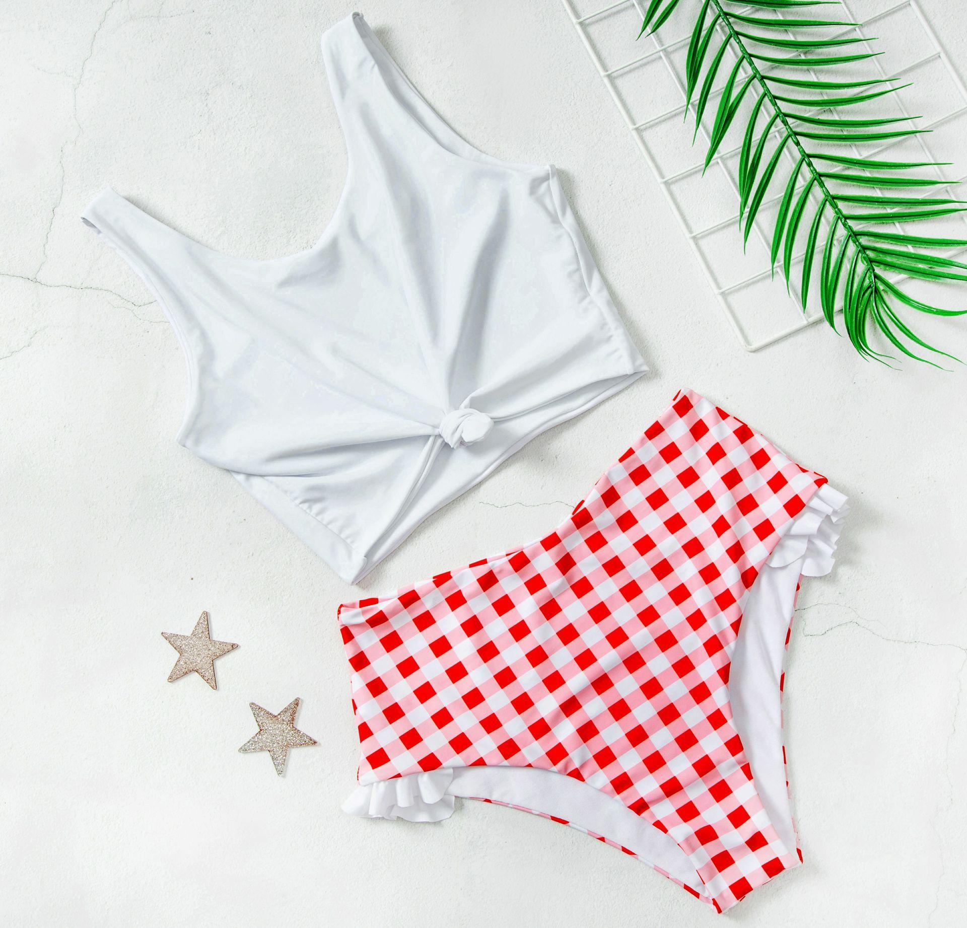 New Sexy High Waist Bikini Push Up Swimwear 2020 Female Ruffle Gingham Swimsuit Women Two-pieces High Cut Bathing Suit Swim Wear