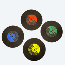 4Pcs/Set Retro CD Cup Drink Coasters Pad PVC Soft Rubber Heat Insulation Silicone Creative Non-slip Mat