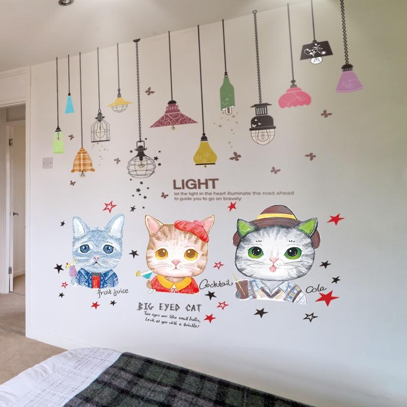 Rétro Cat Cartoon Wall Art Autocollant Vinyle Autocollant enfants
