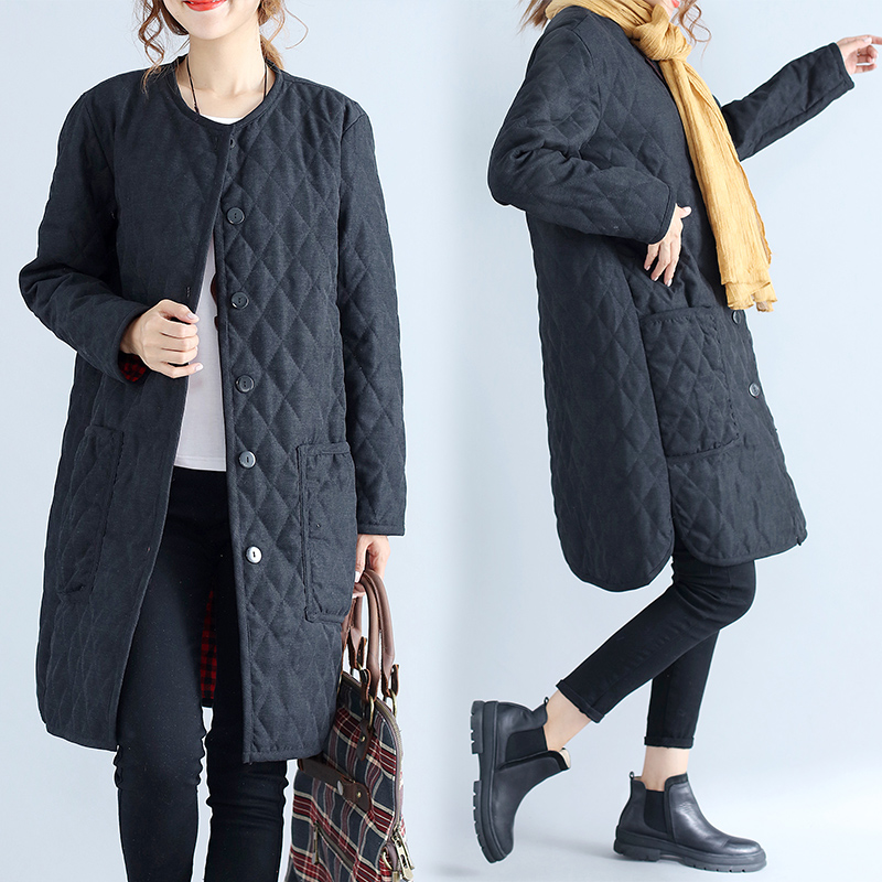 2019 Lady Single-breasted Pocket Cotton Padded Jacket Winter Womens   Parkas   Long Thin Women's Coats Black Overcoats N920