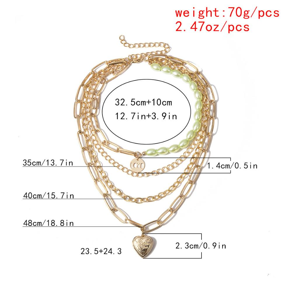 KMVEXO Baroque Pearl Lock Chain Gothic Multi-Layer Necklace Punk Gold Heart LOVE Pendant Choker Necklace for Women Party Jewelry