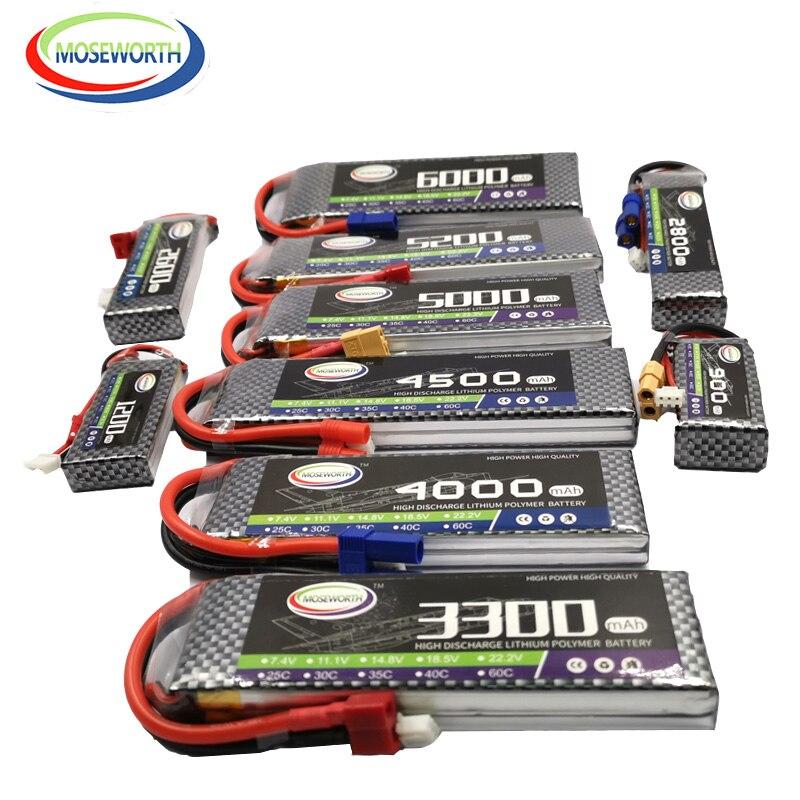 2S Rc Lipo Batteria 7.4V 1200 2800 3300 4000 4500 5200 6000 Mah 30C 40C 60C Batterie Rc 2S per Rc Aereo Elicottero Drone Barca