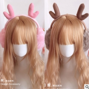 Princess Sweet Lolita Earmuff Warm Christmas Lolita Headdress Plush Antler Earmuffs Pink + Brown Cute Warm Earmuffs HZQX018