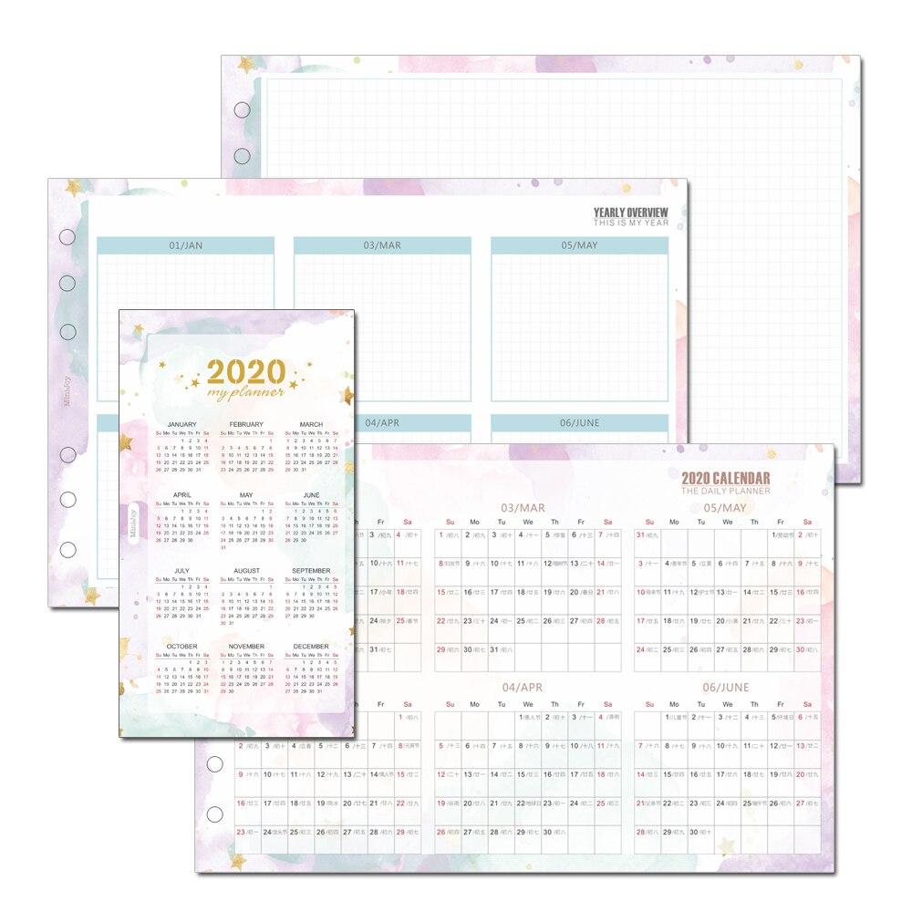 23 листа, 2020 календарь, три сложения, внутренняя страница, руководство, календарь, Ежемесячный план, запасной лист, A5, A6, офисные принадлежност...