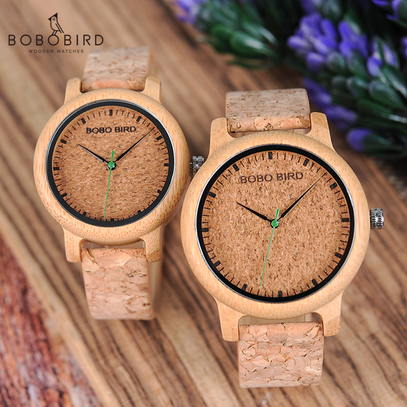 BOBO BIRD Loves' Bamboo Watches Relojes Mujer Relogio Feminino Luxury Brand Quartz Wristwatch With Cork Band For Men Women