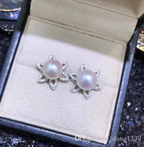 Mignon paire de 9-10mm mer du sud blanc perle boucles d'oreilles 925 S