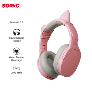 Image 2 - Somic SC2000BT Bluetooth oyun HiFi kulaklık pembe kedi kulak kulaklık 3.5mm/Bluetooth çift modlu HD Mic ile xiaomi PUBG