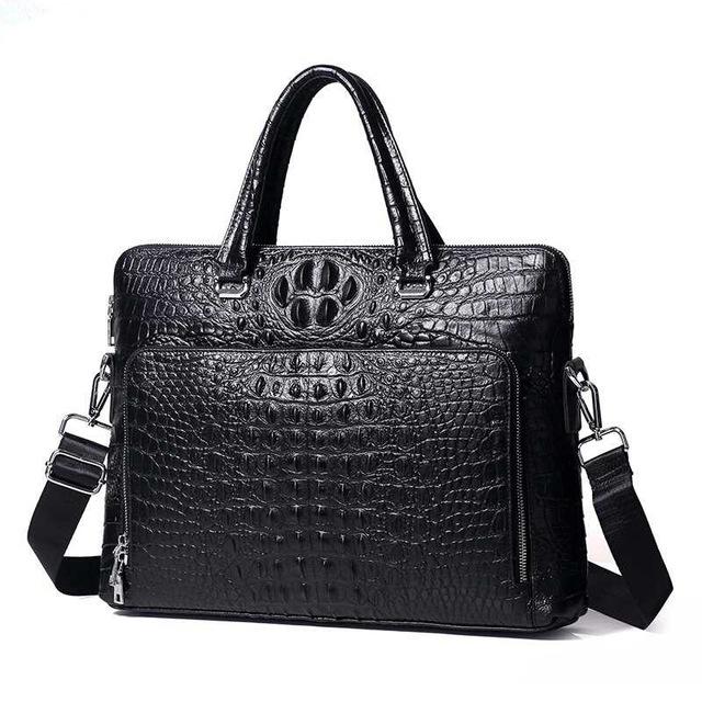 New Luxury Cow Real Genuine Leather Business Men\'s Briefcase Male Briefcase Shoulder Bag Alligator Messenger Tote Computer Bag