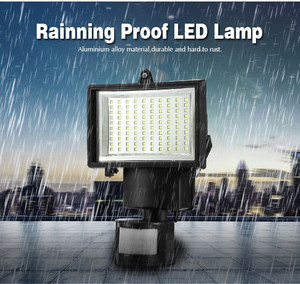 Image 2 - 방수 PIR 안전 벽 빛 100 LED 야외 태양 모션 센서 정원 빛 정원 투광 조명 거리 빛 새로운 센서