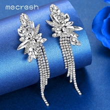 Mecresh Sparkling Fireworks Women Wedding Tassel Earrings Jewelry Silver Gold Color Crystal Bridal Fringe Drop MEH1624