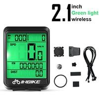 Green Light-Wireless-INBIKE Waterproof Bicycle LED Digital Rate Wireless/Wired MTB Bike Odometer Stopwatch Speedometer