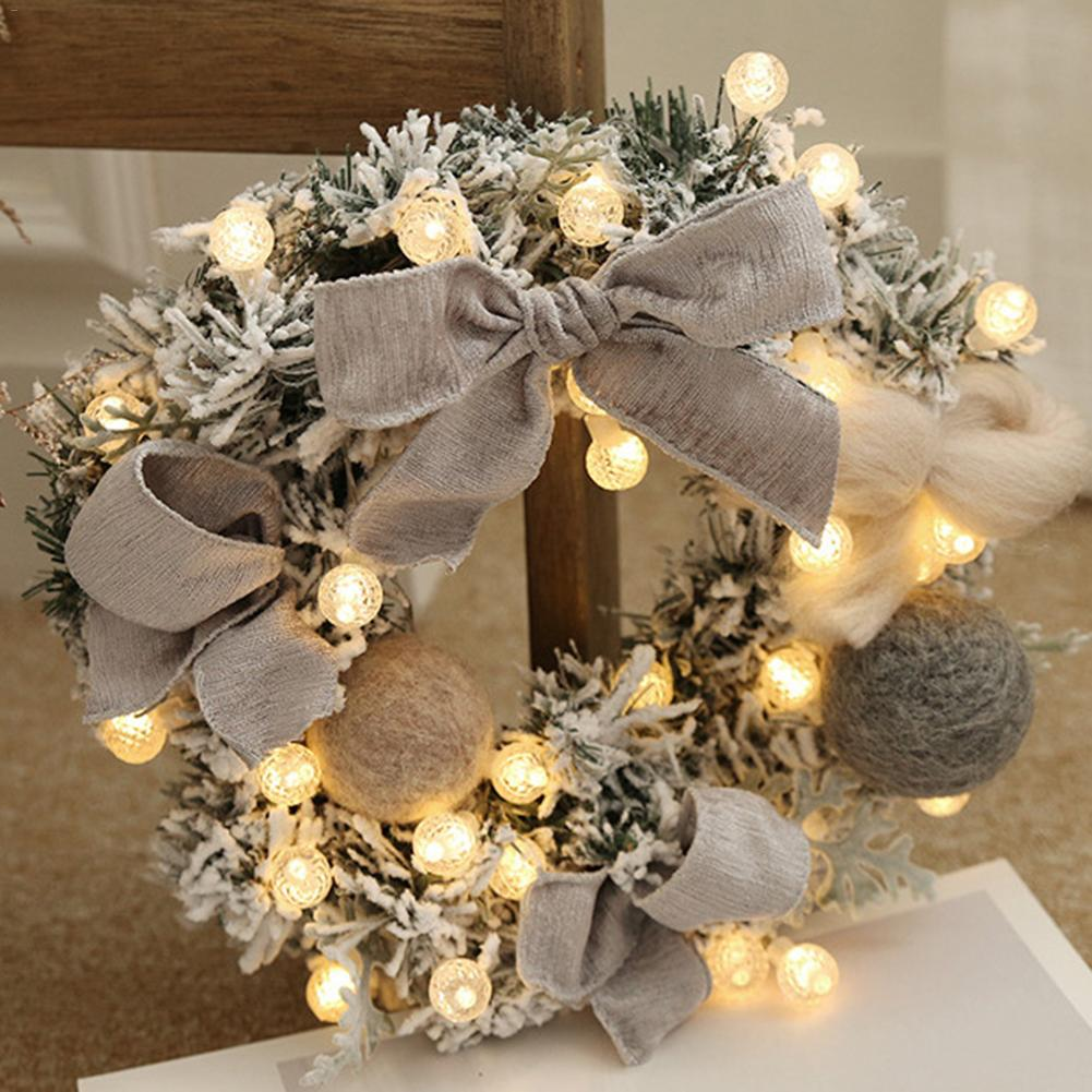 30cm Wall Hanging Christmas Wreath Lighting For Xmas Party Door Garland Ornament Home Decor Holiday Accessories Free Ship