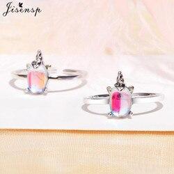 Jisensp mała na pierścionek wykwintne Moonstone jednorożec otwarte pierścienie dla kobiet biżuteria dziewczęca śliczne Rainbow Finger Ringen Christmas Gift