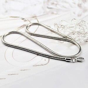 Image 4 - Großhandel männer Sterling Silber Anhänger Halskette Mode 925 Silber Glatte 4mm 20 / 22 Inch Snake Kette Junge/frau Schmuck