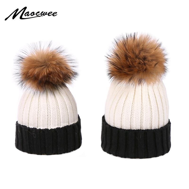 Hat Parenting-Caps Pom-Pom Skull Knit Warm Girls Winter Children Women New-Fashion Patchwork