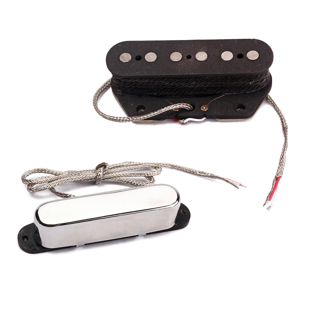 2Pcs Wired <font><b>Neck</b></font> Bridge Single Coil Pickup Replacement for <font><b>Telecaster</b></font> Electric <font><b>Guitar</b></font> image
