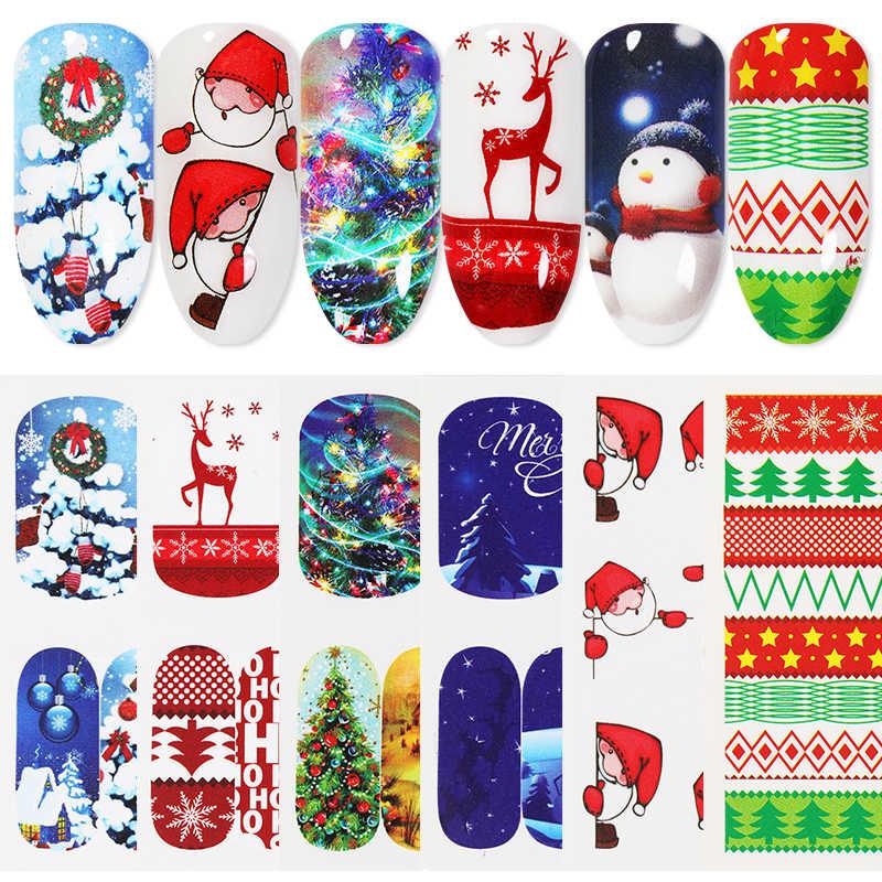 1 hoja colorida Navidad transferencia de agua pegatinas de Arte de uñas serie de Navidad nieve árbol pegatinas papel decoración de uñas DIY