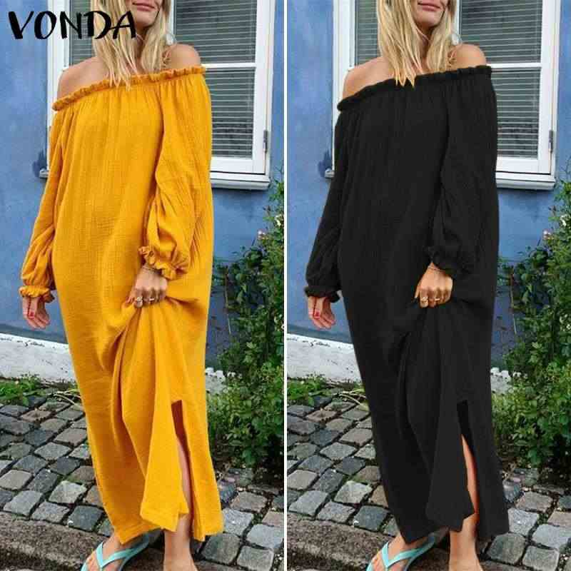 VONDA kadınlar Maxi elbise seksi kapalı omuz fener kollu düz renk elbiseler 2020 yaz plaj Sundress Casual gevşek Vestidos