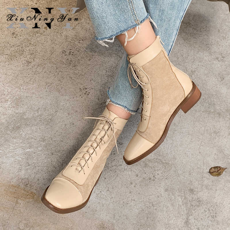 Xiuningyan moda kadın yarım çizmeler hakiki deri bayan Martin çizmeler el yapımı kare ayak sıska çizmeler kadın streç çizmeler
