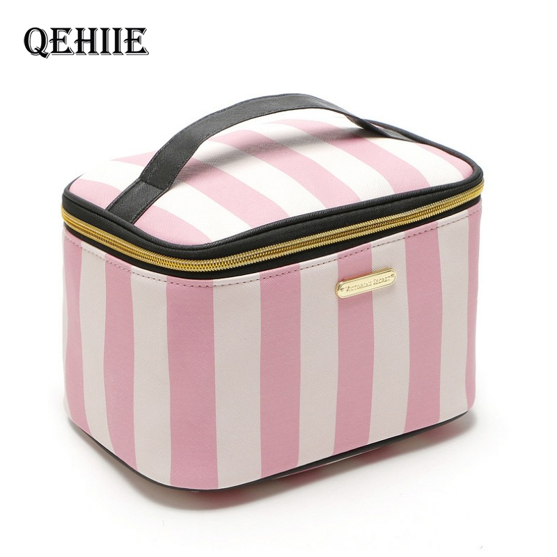 Woman Pink Cosmetic Bag And Case Fashion Flower Purse Organizer Toiletry Bags Cute Travel Professional Large Handbag Make Up Box
