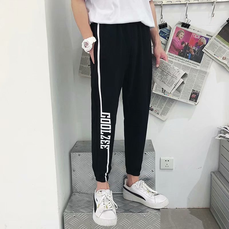 INS Autumn MEN'S Trousers Korean-style Trend Ankle Banded Pants Loose Hip Hop 9 Points Athletic Pants Hip Hop Capri Pants Studen