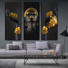 African women holding gold and silver jewelry canvas paintings, black women murals and posters, home decoration paintings