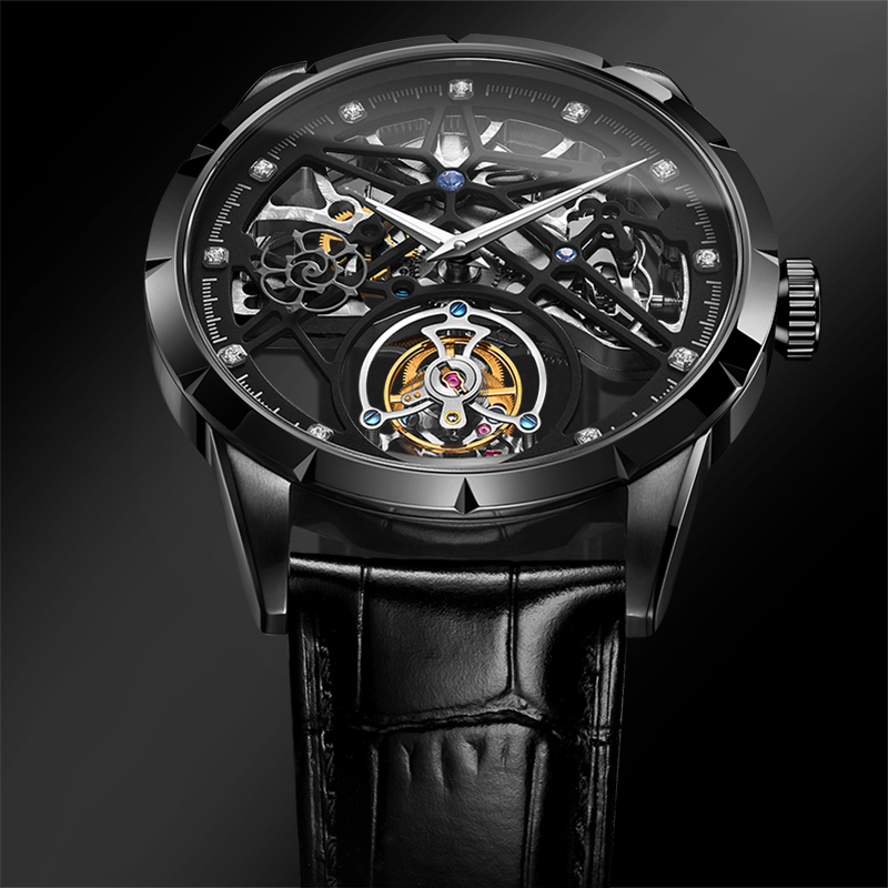 Super New Model GUANQIN Original Tourbillon business men watch top brand luxury Skeleton Sapphire  clock men Relogio Masculino 1
