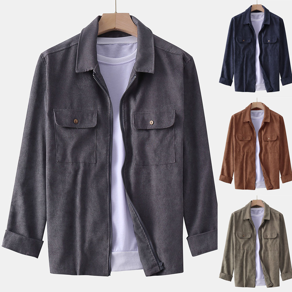 Men's Fashion Coat Casual Long Sleeve Corduroy Casual Blouse Men Men's Clothings Men's Shirts Men's Tops