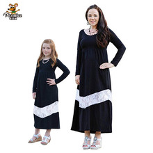 New Mother Daughter Dresses Long Sleeve Lace Long Dress Mother Daughter Clothes Mom And Daughter Dress Family Matching Clothes mother daughter dresses sleeveless colorblock long dress mother daughter clothes mom and daughter dress family matching clothes