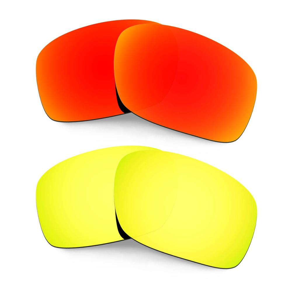 HKUCO For Scalpel Sunglasses Replacement Polarized Lenses 2 Pairs - Red&Gold