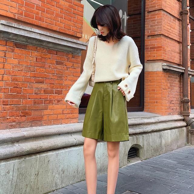 S-3XL Fashion PU Leather Shorts Women's Autumn Winter Bermuda Elastic Waist Loose Five Points Leather Trouser Plus Size Shorts 5