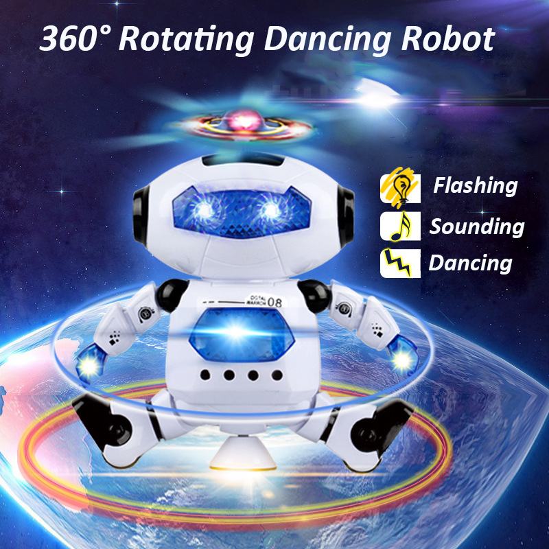 Smart Robot Toy 360 Rotating Dancing Singing Robot Led Light Music Mini Robot juguete Electronic Educational Toys for Children