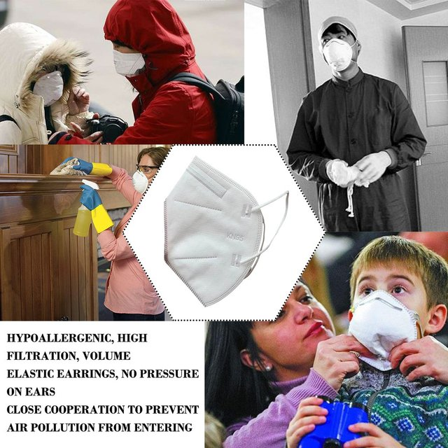1pc KN95 Anti Flu Mouth Mask 95% Filtration Disposable Outdoor Protective Face Mask Respirator 3