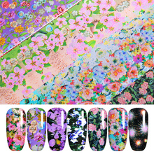 16Pcs/Set Starry-Sky Nail Foil Colorful Flowers Transfer Decals Stickers Summer DIY Design Manicure Art Decoration