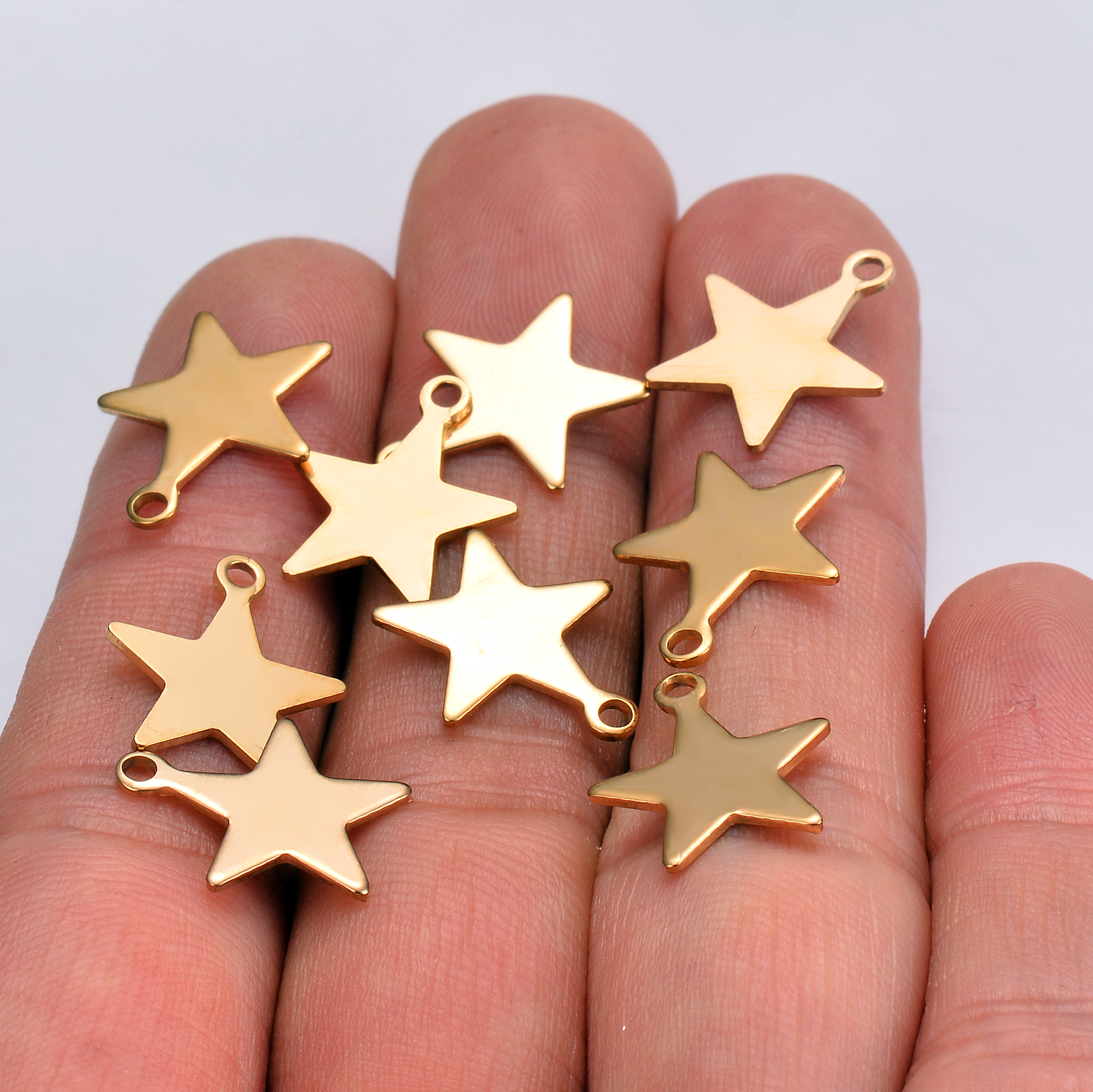 20 Pcs Gold Tone Stainless Steel Small Star Jewelry Charm,DIY Jewelry Makings ,Hypoallergenic And Not Turn Off Color